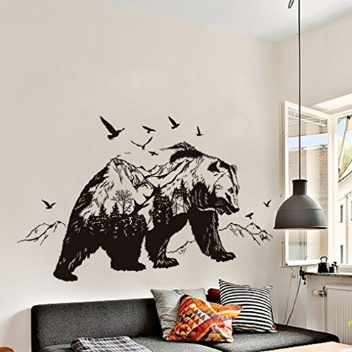 Vibola DIY Removable Wall Sticker Mountain Black Bear Animal Sticker Child Room Living Room Bedroom Background Decoration Murals PVC Wall Stickers (Furniture Bedroom Alaska)