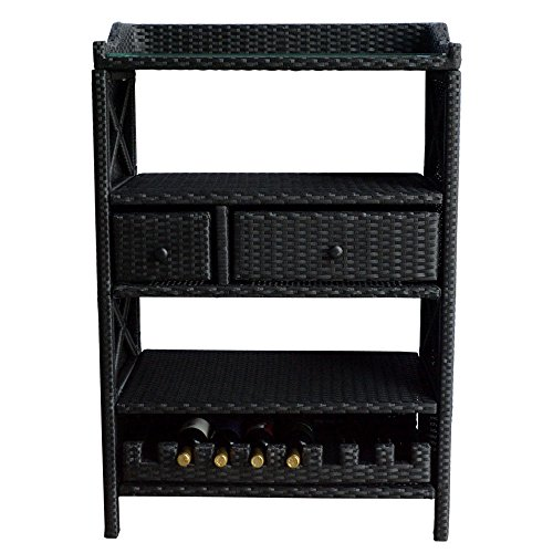 Wine Bar Wicker Rack 8 Bottle Holder Pull Out Cabinet Liquor Shelves Buffet Counter Drawer Home Decor Furniture Display Kitchen Storage Glass Top Wicker Wine Rack