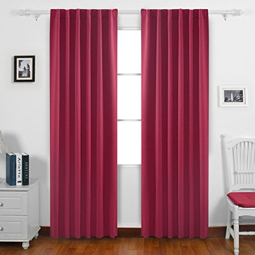 Deconovo Solid Color Rod Pocket Curtains Blackout Curtains Insulated Thermal (Rose Panel)