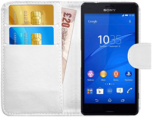 ny Xperia Z3 Compact, Leather Wallet Cover with Card Slots, White ()