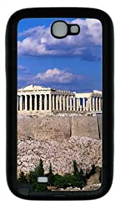 Blue Sky Acropolis Border Buildings TPU Rubber Samsung Galaxy Note 2/ Note II/ N7100 Case Cover - Black