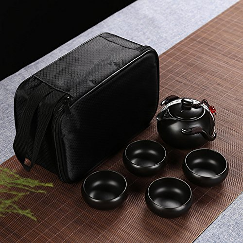Chinese/Japanese Vintage Kungfu Gongfu Tea Set - Porcelain Teapot & Teacups with a Portable Travel Bag (Black) by Instill