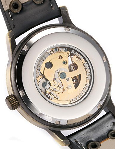 AMPM24 Men's Steampunk Bronze Skeleton Self-Winding Auto Mechanical Leather Wrist Wacth 6