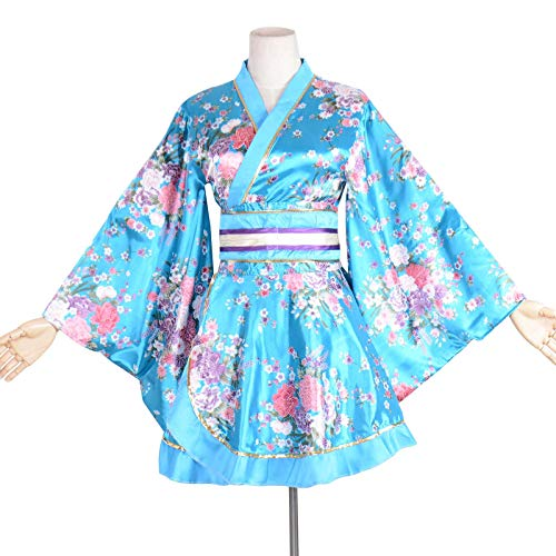 Kimono Bathrobe Costume Japanese Traditional Yukata Cosplay Women's Sexy Sakura Pattern (Blue) -