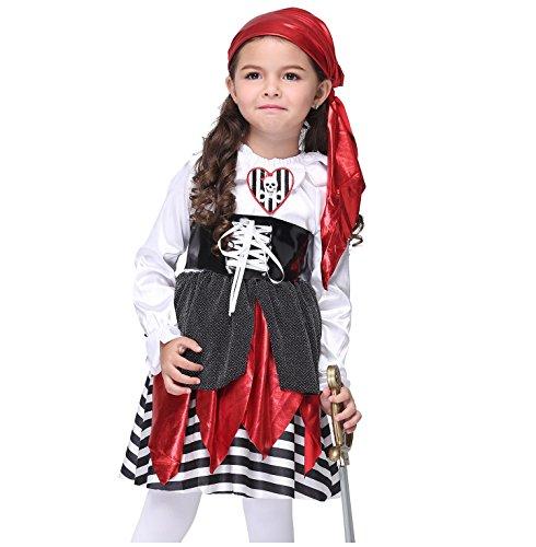 Girl's Halloween Pirate Cartoon Cosplay Costume Suit Children's Wear Dancing Dress (Girl Pirate Makeup Halloween)
