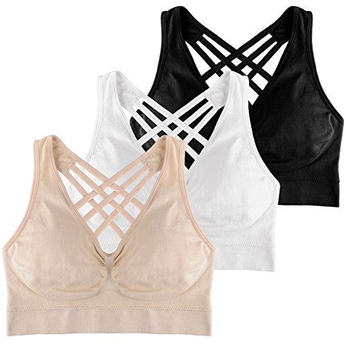 BRLIDO Cross-Back Wireless Sports Bra for Women Yoga Bras with Removable Pads