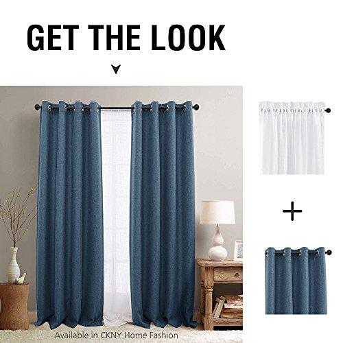 Jinchan Room Darkening Window Curtain Panels for Bedroom Blackout Curtains for Living Room Linen Look Textured Drapes (Single Panel, 95, Denim Blue)