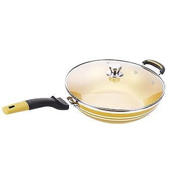 Wok Cocina AntigáS Antiadherente De Estilo Dorado Sin Estufa De Gas De Cocina De Gas Plano Sin Humo para 34cm: Amazon.es: Hogar