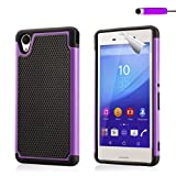 32nd® Shock proof dual defender case cover for Sony Xperia M4 Aqua + screen protector, cleaning cloth and touch stylus - Purple