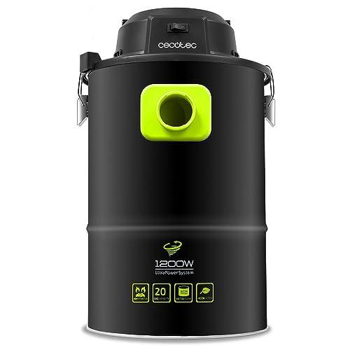 Cecotec Aspirador de Cenizas PowerAsh. 1200 W. Boquilla XXL. 3 procesos de filtración. Tubo Reforzado. Depósito metálico 20 L. Filtro HEPA, Negro
