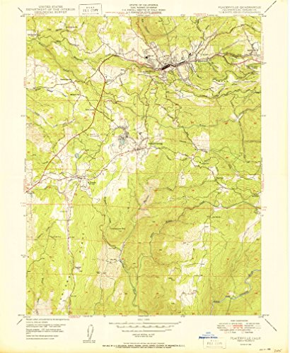 Placerville CA topo map, 1:24000 scale, 7.5 X 7.5 Minute, Historical, 1950, 26.9 x 22 IN - - Apex Sacramento