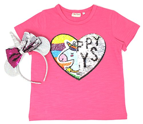 Unicorn Flip Heart Sequin Girl's T-Shirt with Flip Sequin Unicorn Headband 4-12 Years (6-7, Hot Pink+Headband) by HH Family