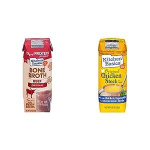 Kitchen Basics Original Beef Bone Broth, 8.25 fl oz & All Natural Original Chicken Stock, 8.25 fl oz