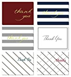 (48 Pack) Thank You Cards Set with Envelopes - Professional Paper with Silver Gold red Blue foil Letters and Blank White Inside - Bulk Pack of Notes Perfect for Baby Shower Wedding Birthday Party
