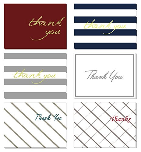 (48 Pack) Thank You Cards Set with Envelopes - Professional Paper with Silver Gold red Blue foil Letters and Blank White Inside - Bulk Pack of Notes Perfect for Baby (Letter Note Card)