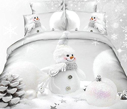 Kissenbezug 50x75 cm Febe Schneemann Winter 3D Premium Bettw/äsche Set Kugeln Schnee Einzelgr/ö/ße 2 teilig