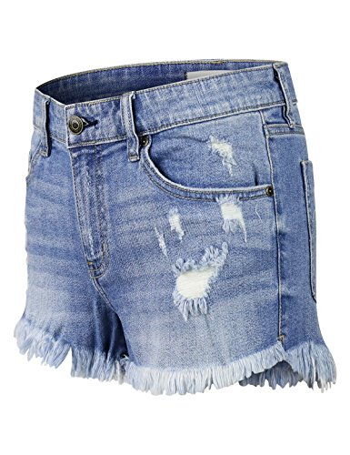 makeitmint Women's Trendy Frayed Hem Cut Off Distressed Denim Jean Shorts ()