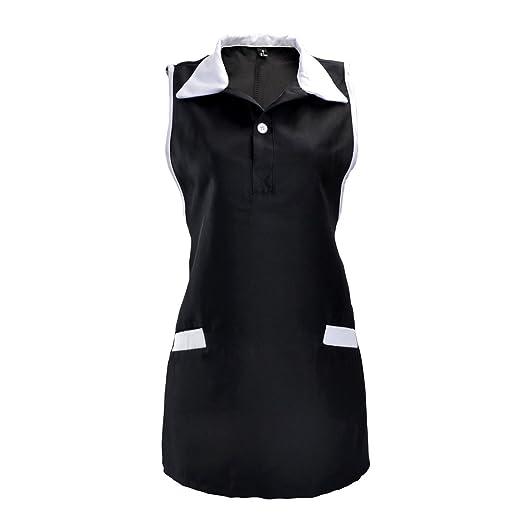 zhuomei mujeres trabajo tienda sin mangas delantal esteticista uniformes, poliéster, negro, talla única: Amazon.es: Hogar