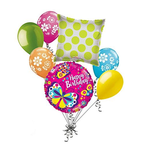 Happy Balloons Birthday Butterfly (7 pc Bright & Colorful Pink Happy Birthday Butterfly Balloon Bouquet Decoration)