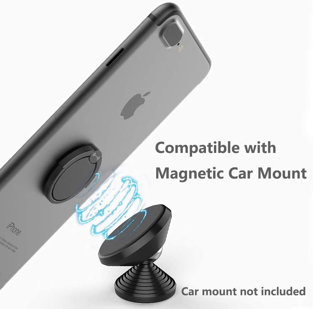 Finger Ring Stand 360 Degree Rotation Thin Metal Phone Grip Kickstand Work on Magnetic Car Mount Compatible with iPhone XR XS MAX 6S 7 8 Plus X Cute Phone Ring Stand Holder Rose Gold