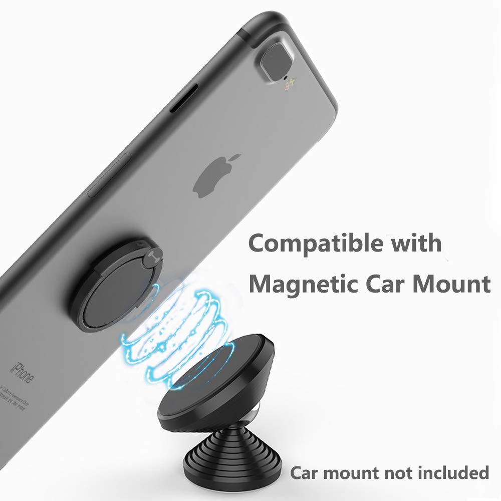 Finger Ring Stand 360 Degree Pop Rotation Thin Metal Phone Grip Kickstand Work on Magnetic Car Mount for iPhone XR XS MAX 6S 7 8 Plus X Cute Phone Ring Stand Holder Silver