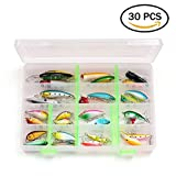 Cheap LotFancy 30 PCS Fishing Lures for Freshwater with Storage Box, Bass Lures, Length From 1.57 to 3.66 Inches