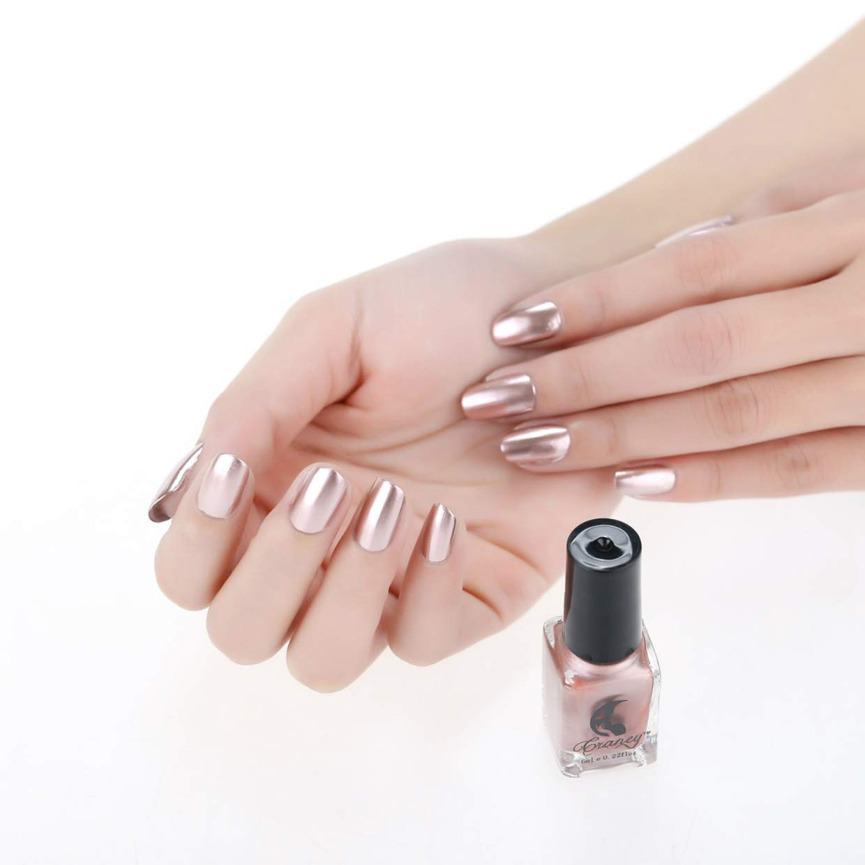 CieKen Mirror Nail Polish, Plating Silver Paste Metal Color Mirror Long Lasting Nail Polish Makeup Polish Nail Painting Art (B)