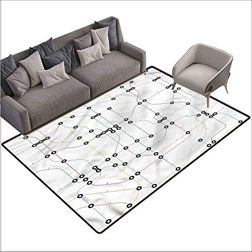 Floor Mats for Living Room Map,Colorful Lines Metro Scheme 60
