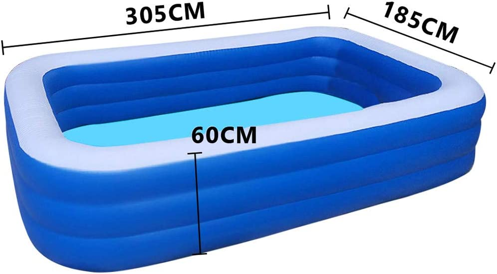 Swimming Pools Above Ground Inflatable for Kids Adult Babies Toddlers Kiddie Family Center Framed with Patch Seal Tape Outside Outdoor Indoor Garden Backyard Lawn Summer Party (308x185x65cm)