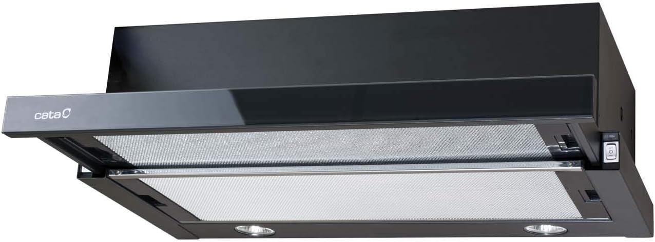 Cata | Campana extractora telescópica | Modelo: TF 2003 GBK | campana de cocina con 2 niveles de extracción | Panel de control mecánico | Acabado en cristal negro | Clase de eficiencia energética: