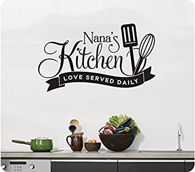 """24"""" Nana's Kitchen Love Served Daily Utensils Wall Decal Sticker Art Mural Home Décor Quote"""