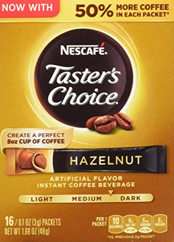 (Nescafe Taster's Choice Instant Coffee Beverage, Hazelnut,16 - 0.1 oz packets (Pack of 4))