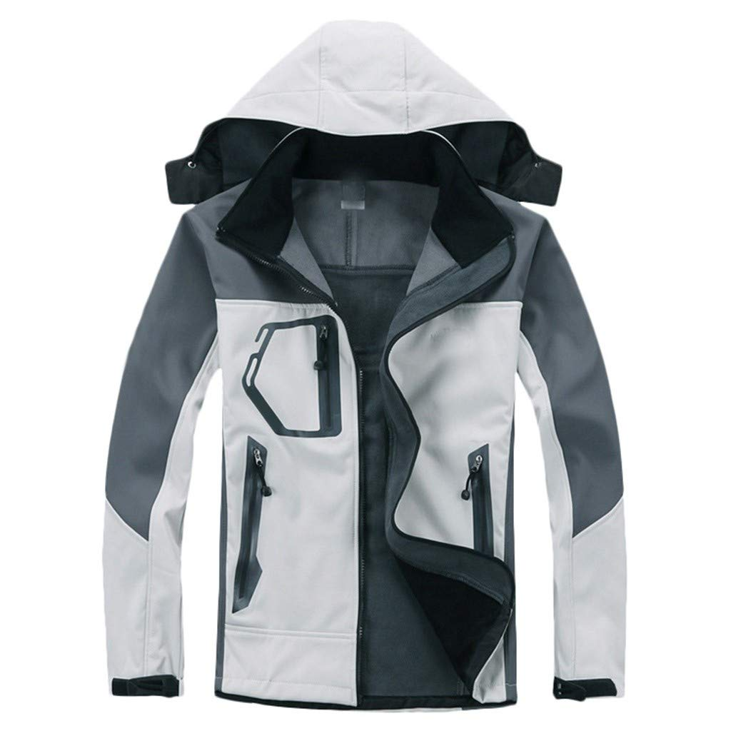 Funnygals - Unisex Waterproof Jacket - Lightweight Rain Coat - Breathable Hooded Hiking Shell Jackets - Multiple Pockets White by Funnygals - Clothing