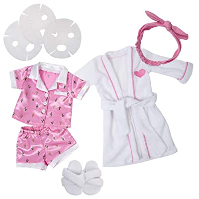 "Adora Amazing Girls 18"" Doll Clothes - Lounge Pajamas, Robe, Slippers, Headband, Face Masks ( Exclusive): Toys & Games"