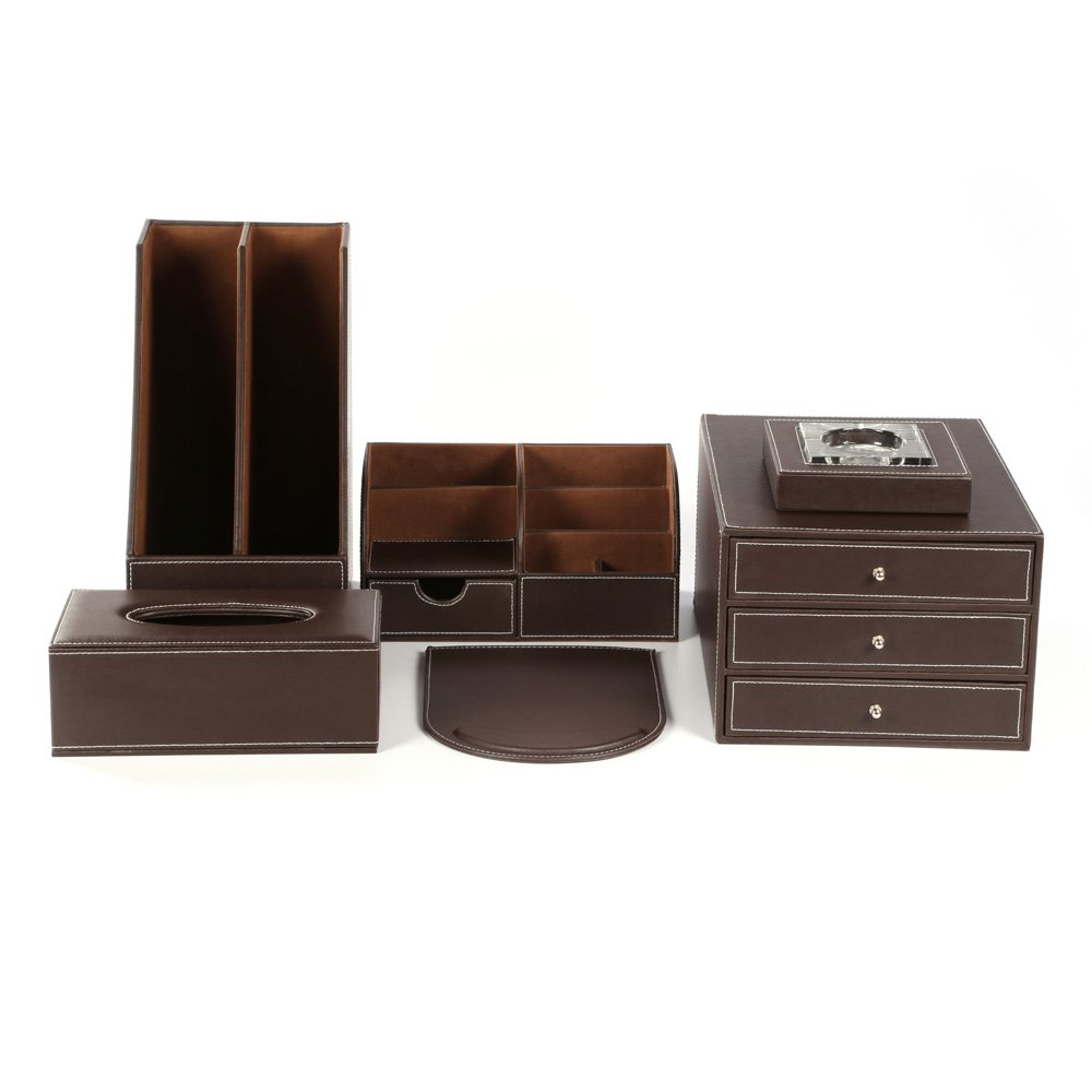 KINGFOM™ Office Desk Organizer Set T02-6PCS/Office Supply Eco-Friendly Synthetic Leather Desk Set Including Desk Organizer, Mouse Pad, File Cabinet, Document Holder, Crystal Ashtray and Tissue Box Holder (T02-Brown)