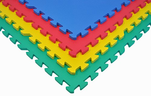 Non-Toxic 24'' X 24'' X~9/16'' Extra Thick Baby Non-Recycled Quality Rainbow Waterproof Playmats (Set of 4) by Wonder Mat (Image #3)