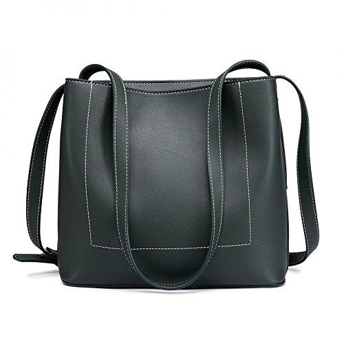 Bolso de hombro casual Bolso de hombro de mujer Bolsos de cuero de imitación de diseñador grande (verde)