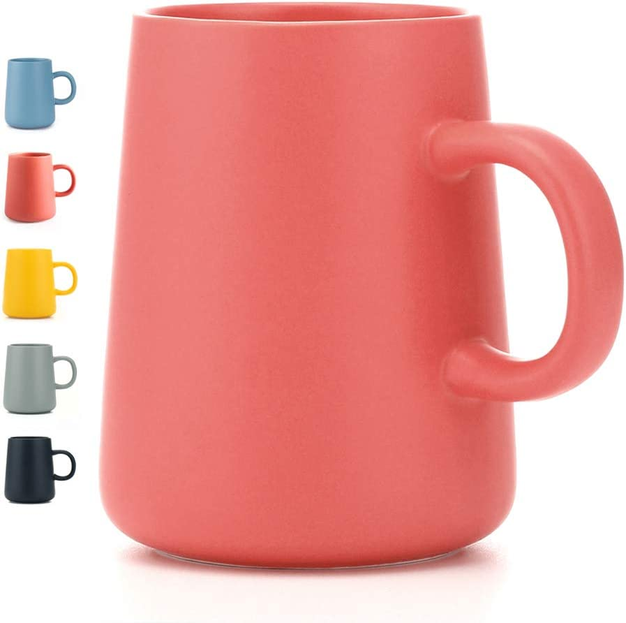 JYYT Frosted Ceramic Cup Coffee Cup Mug Tea Cup for Office Home Capacity 13.5oz, Pink