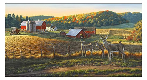 - Whitetails Panel by Darrell Bush, Autumn Farm Scene, Deer, Elizabeths (By Panel)