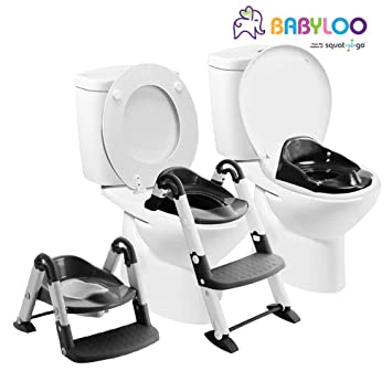 Potty Toilet Trainer Seat with Step Stool Ladder, 3 in 1 Adjustable Trainer with Handles /& Soft Cushion for Kids Toddlers