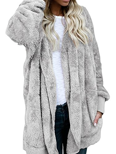 WD-Amour Womens Furry Open Front Hooded Cardigan Jacket Coat Outwear with Pocket(L,Grey) (Plush Hooded Jacket)