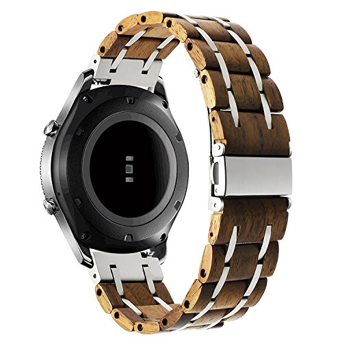 Q-link Silver Pebble - for Samsung Galaxy Watch 46mm / Gear S3 Bands, TRUMiRR 22mm Natural Wood & Stainless Steel Watch Band Quick Release Strap for Samsung Gear S3 Classic/Frontier,Gear 2 R380 R381 R382,Moto 360 2 46mm
