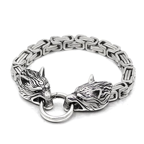 Handmade Stainless Steel Wolf Head Bracelet With King's Chain (Head Mens Bracelets)