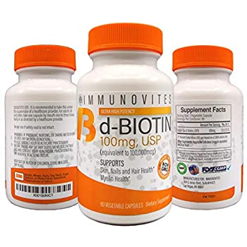 Image of 3-Pack High Dose Biotin (as d-Biotin, USP) 100mg (Equivalent to 100,000mcg) 90 Capsules, High Potency (3) Health and Household
