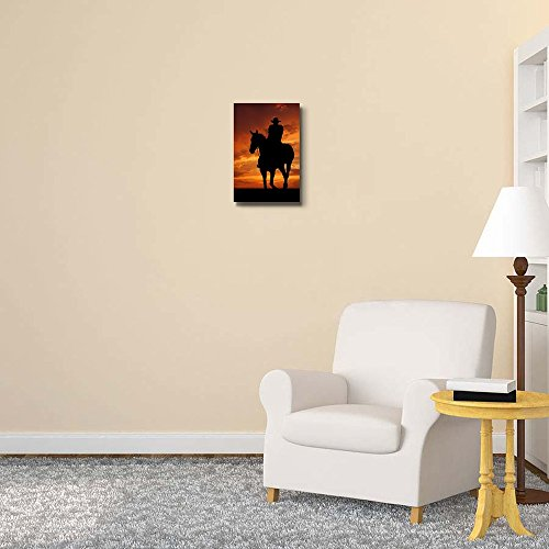 Silhouette Cowboy with Horse in The Sunset Wall Decor