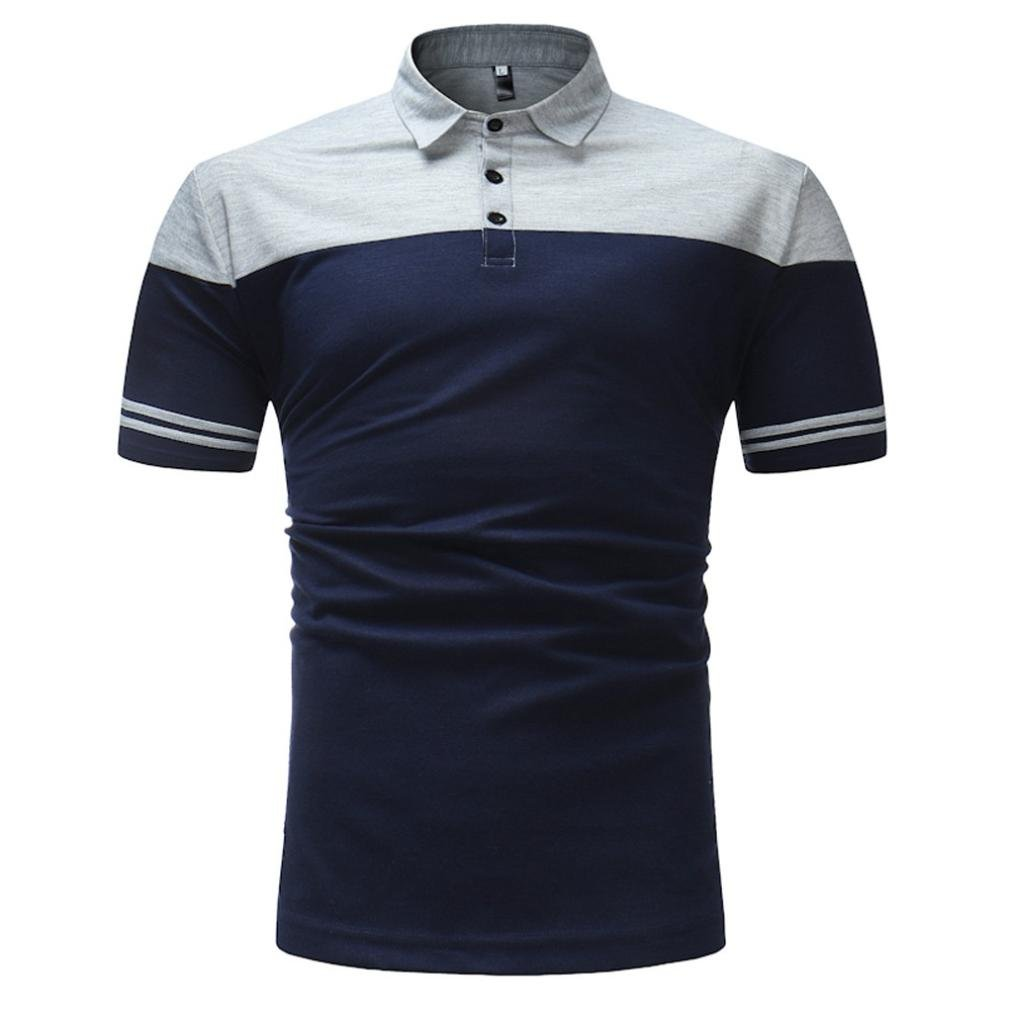 GREFER Business Tee Mens Slim Fit Shirt Short-Sleeve Polo Blouse Top