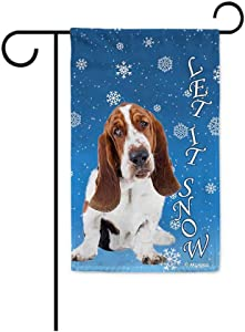 BAGEYOU Let It Snow with My Love Dog Basset Hound Decorative Garden Flag for Outside Happy Winter Holiday Puppy Snowflake Yard Banner 12.5X18 Inch Printed Double Sided