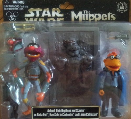 Star Wars Muppets - Disney Star Wars Muppets Animal Link Hogthrob Scooter as Boba Fett, Han Solo in Carbonite and Lando Calrissian Collectible Figure Set