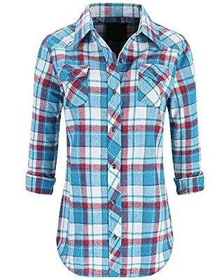 Lilicherry Womens Long Sleeve Collared Button Down Plaid Flannel Shirt