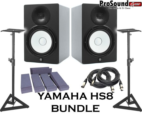Yamaha HS8 Powered Studio Monitor Pair with XLR-Cables Insolation Monitor PAD and Speaker Stands ()
